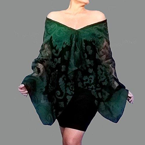 Green Evening Wrap Black Shawl Organza Scarf By ZiiCi