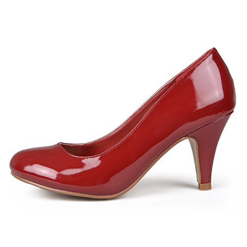 Journee Collection Womens Round Toe Solid Color Pumps Burgundy Patent et9K6Z7N