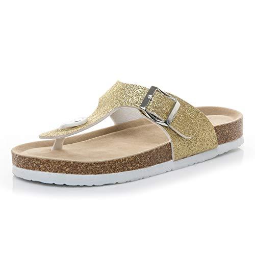 JEFCY Women Fashion Flip Flops Thongs Sandals Comfort Sequin Unisex Buckle Non Slip Beach Clogs Flat Slides Gold ()