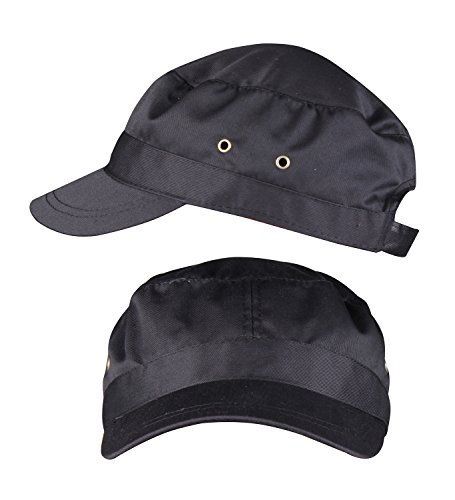 FZL Adult Black Flat Top Hat Unisex Adjustable Visor Hat Cadet Cap Black 2-Pack