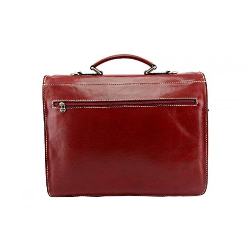 Maletín Business En Piel Verdadera Color Rojo - Peleteria Echa En Italia - Business