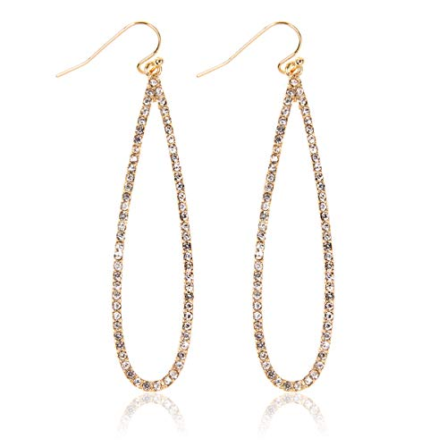 - Sparkly Simple Lightweight Geometric Open Hoop Drop Earrings - Cut-Out Dangles Teardrop/Pear/Pointy Oval/Marquise/Circle Cubic Zirconia Crystal/Multi Rhinestone/Acrylic (Long Teardrop - Gold Clear)