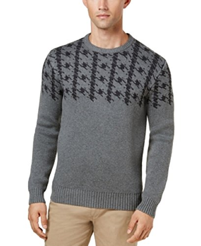Ben Sherman Men's L/S Dogtooth Crew Sweater (Charcoal, XX-Large)