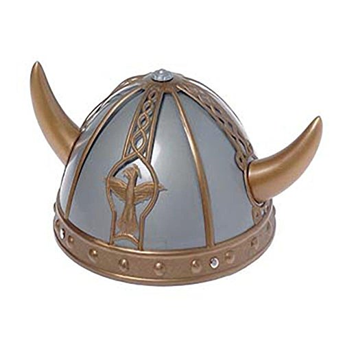 U.S. Toy Child Size Horned Silver Plastic Viking Helmet