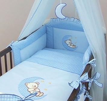 5 piece baby cot bed bedding set moon cot 120 x 60cm blue