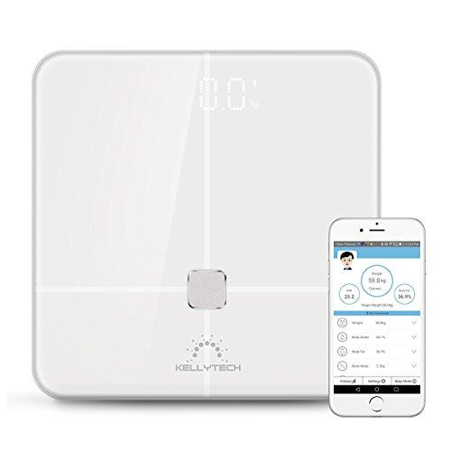 KELLYTECH High Precision Bluetooth Body Fat Scale -FDA Approved-Wireless digital bathroom scale for Body weight, Body Fat, Water, Muscle Mass, BMI, BMR, Bone Mass and Visceral Fat, High fashion,White