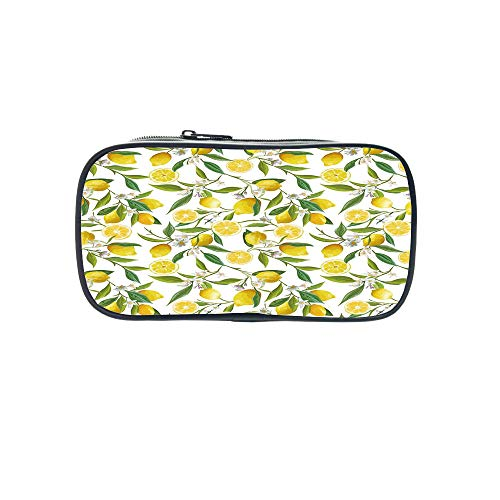 Polychromatic OptionalPen Bag,Nature,Daisy Flower Field with Chamomiles Hill Under Sun Idyllic Cartoon Decorative,Cream Lime Green Earth Yellow,for Kids,Diversified ()