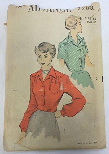 Advance 5909 Vintage 1950s Misses Yoked Blouse Pattern B36