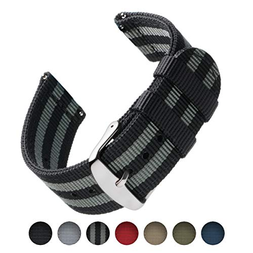 Premium Nylon Quick Release Replacement Watch Bands for Men and Women, Watches and Smartwatches (Black/Gray, 20mm) ()