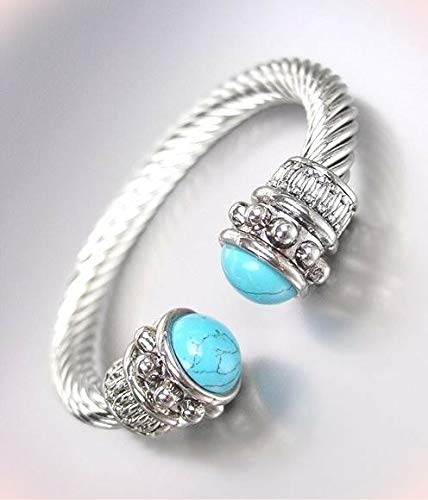 Balinese Designer Style Chunky Silver Bracelet Cable Turquoise End Tips Cuff Bracelets For Women