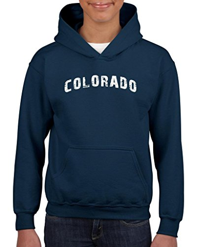 Artix Colorado Distress Home of Colorado Springs Unisex Hoodie For Girls and Boys Youth Kids Sweatshirt Clothing Medium Navy Blue
