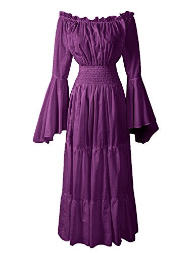 ReminisceBoutique Renaissance Medieval Dress Costume Mythic Mystic Forest Sword Mistress Chemise (Regular, Purple) -