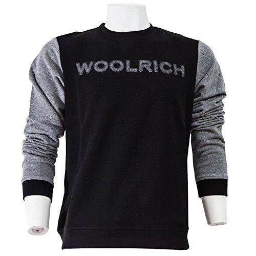 Bonded Crew Neck Wofel1140 Felpa Uomo Grigio Woolrich Fleece Nero x5tfF