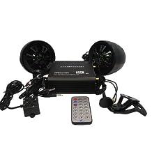 Shark Shkamp5800bt6160 Black 600 Watt Bluetooth Motorcycle Marine Audio System w/ 3.5 Speakers + Wired / Wireless Remote+antenna. Full System. Easy Install. Mirror Brackets Included