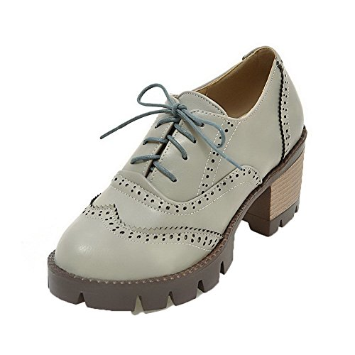 High Shoes Women's Round Heels Up Toe AllhqFashion Gray Lace Pumps Checkered wSP7xwq