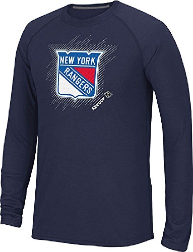(New York Rangers Navy Frost Logo Long Sleeve Synthetic T Shirt by Reebok (Medium))