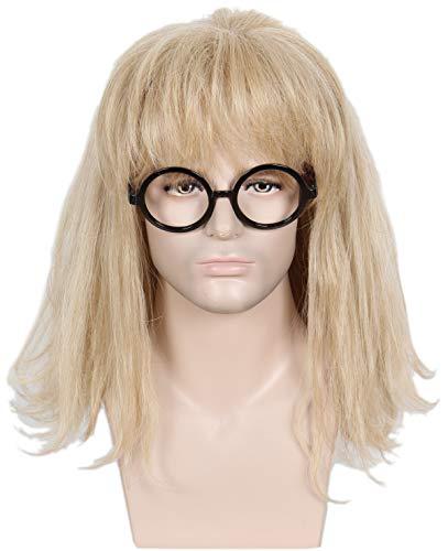 Linfairy 80s Heavy Metal Halloween Mullet Fancy Dress Wig (blonde -