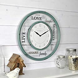 FirsTime & Co. Family Glass Wall Clock, 13, Distressed Teal