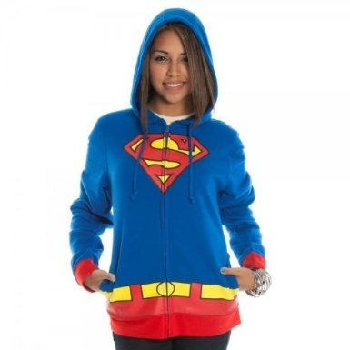 Supergirl Logo Juniors Hoody Hooded Sweatshirt,Royal Blue, Large