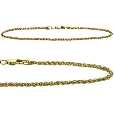 14K Yellow Gold 9 Inch Wheat Style Anklet by Elite Jewels