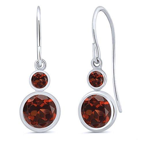 - Gem Stone King 2.24 Ct Round Red Garnet 14K White Gold Earrings