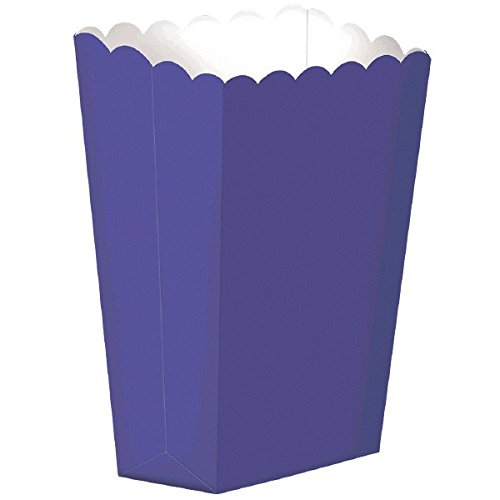 Party Ready Large Popcorn Favour Box, Deep Purple, Paper, 10 Pieces, Made from paper, Purple, 7 1/4