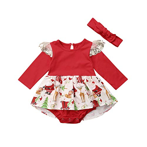 Xmas Newborn Baby Woman Clothes Long Sleeve Printing Skirted Romper Jumpsuit Headpiece 2PCS Christmas Gift Baby Clothing Princess or Queen Prince