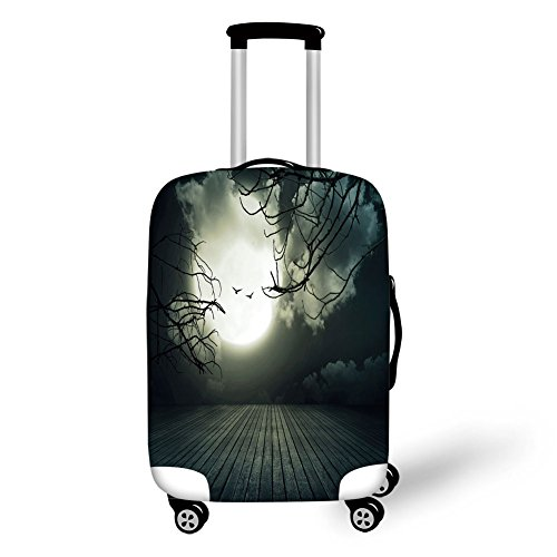 Travel Luggage Cover Suitcase Protector,Halloween,Wooden Planks Floor with Leafless Branches and Blurred Full Moon Mysterious Decorative,Black Grey White,for -