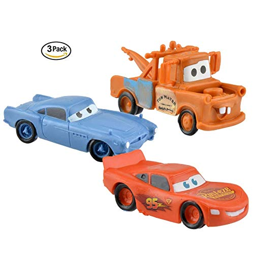 3 Cars Cake Toppers. Boy Car Playset. Lighting McQueen Birthday Party. ()