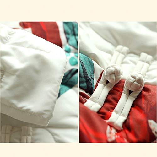 Stampato Black L Invernale Casuale Retrò Letterario Cinese In Bianco nero Giacca color Dimensione Allentata Cotone Donna Da Black Piumino Tangmengyun Lungo XTqFOF