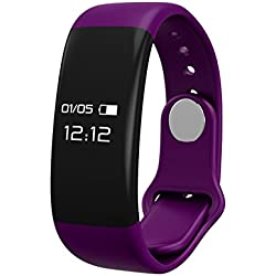 Fitness tracker, B2Future Bluetooth Fitness Tracker Watch, Waterproof OLED Screen Fitness Tracker Smartwatch with Heart Rate Monitor Pedometer Smart Wristband Band (Purple, 0.66)