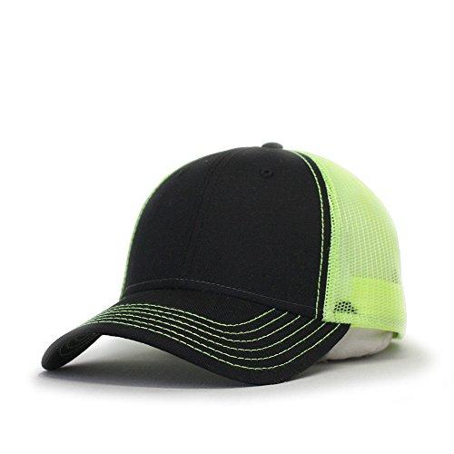 (Vintage Year Plain Cotton Twill Mesh Adjustable Snapback Low Profile Trucker Baseball Cap (Black/Black/Neon Yellow))