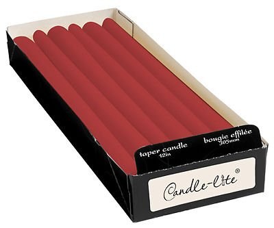 (144) CANDLE LITE 0212854 12'' RED CRIMSON TAPER TAPERED CANDLES by Everyday Essentials