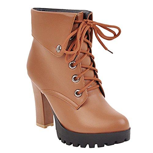 Latasa Womens Lace-up Platform High Heel Ankle Boots Light Brown EKCaF