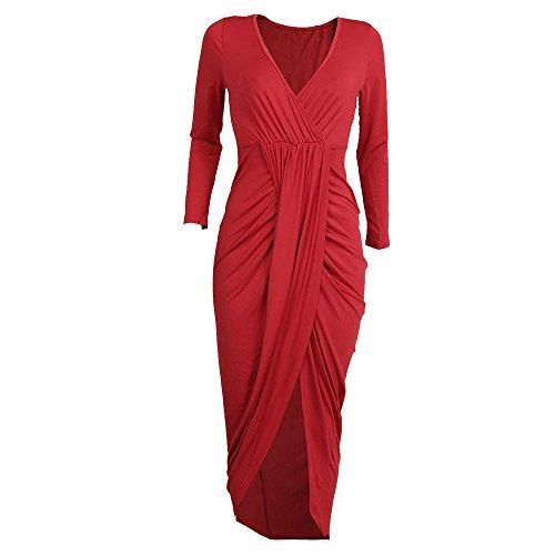 iLUGU Feminine Knee-Length Dress for Women Half Sleeve Deep V-Neck Pencil Bodycon Party Evening Slim Gown