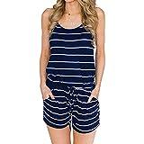 ANRABESS Women Summer Casual Spaghetti Strap Adjustable Waist Beach Party Romper Jumpsuit Romper Navy+White-L BYF-46