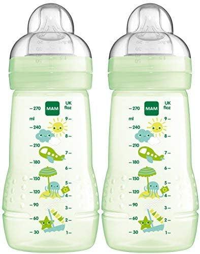 270 ml MAM Easy Active Drinking Bottles Months Set of 2 Baby Water Bottles Including MAM Teat Size 1 SkinSoft Silicone Milk Bottle with Ergonomic Shape 0