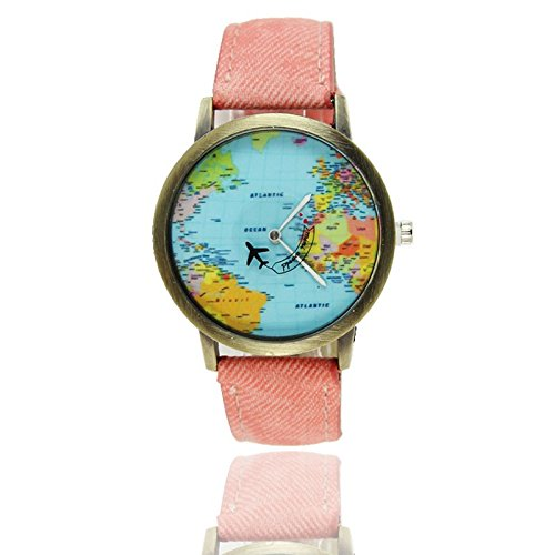 homim reloj regalo Mujer Hombre Cowboy piel sintética tarjeta del mundo amado, color rosa claro 1pcs: Amazon.es: Relojes