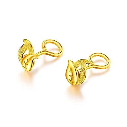 Beydodo 2.83g 24K Yellow Gold 999 Stud Earrings for Womens Frosted leaves Earrings Stud for Wedding