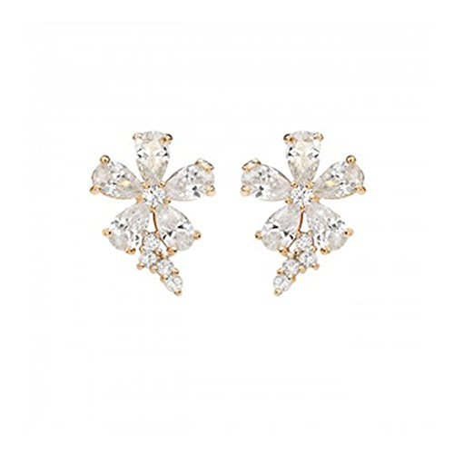 Meriling Female Rhinestone 5 Petals Flower Stud Earrings 1 Pair Silver