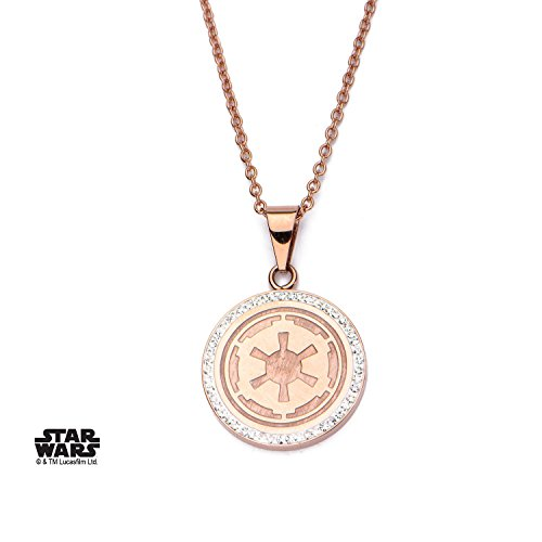 Womens-Stainless-Steel-Rose-Gold-PVD-Plated-Galactic-Empire-Symbol-Pendant-with-Chain