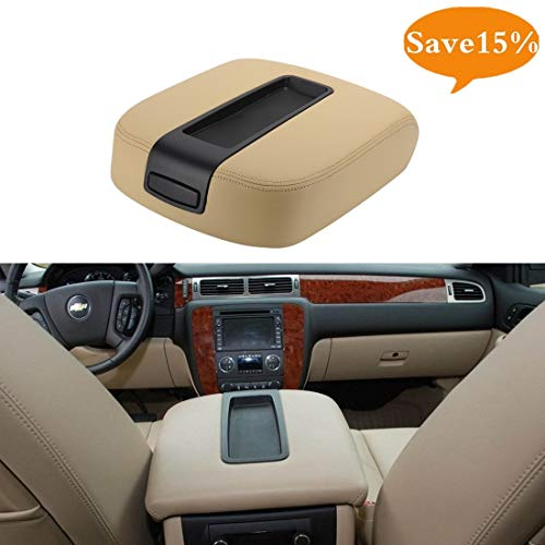 VeLeather Center Console lid Arm Rest Cover Replacement for 2007-2014 Chevy Chevrolet Silverado,Tahoe,Suburban,Avalanche,GMC Sierra,Yukon,Yukon XL Armrest Center Console Cover Lid Kit 15217111(Tan) ()