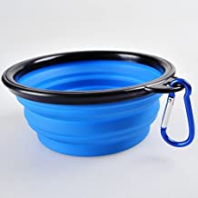CocoPet Outdoor Pet Silicone Foldable Water Bowl - 5.1 inches Retractable Travel Protable Water Bottle/Dish with a Metal Carabiner for Dogs & Cats Blue