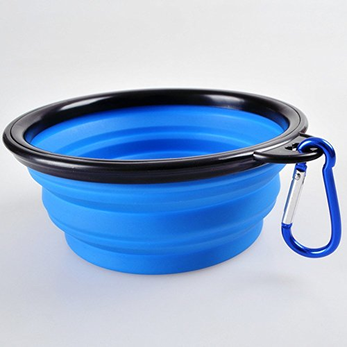 CocoPet-Outdoor-Pet-Silicone-Foldable-Water-Bowl-51-inches-Retractable-Travel-Protable-Water-BottleDish-with-a-Metal-Carabiner-for-Dogs-Cats-Blue