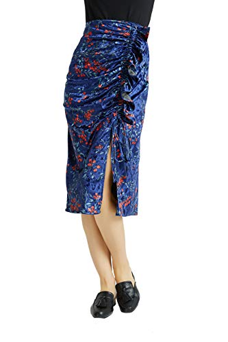 Tronjori Womens Vintage Print Velvet Midi Skirt with Ruffle and Drawstring on The Front(S,Purple (Drawstring Print Skirt)