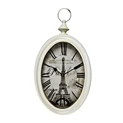 Adeco CK0042 White Iron Vintage-Inspired Pocket Watch Style Oblong Oval Wall Hanging Clock Roman Numerals, Eiffel Tower Home Decor, Off Parchment-Color, White