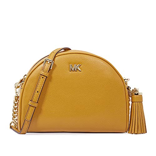 4426339e0871 Michael Kors Ginny Pebbled Leather Half-Moon Crossbody Bag- Marigold ...