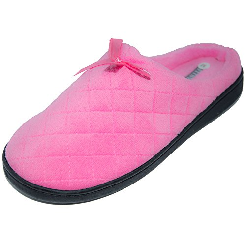 FITSY Womens Warm Comfortable Cuty TPR Sole Indoor Outdoor Anti Slip House Slippers Pink
