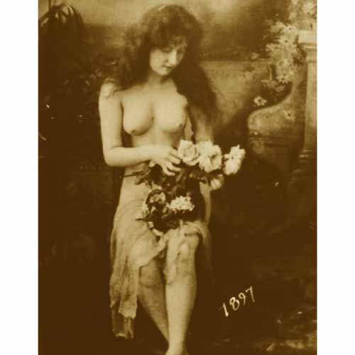 Quality digital print of a vintage photograph - Topless Woman Holding Flowers Sepia Tone 5x7 inches - Luster Finish