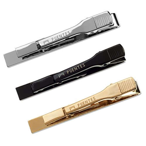 3 Pc Mens Tie Bar Pinch Clip Set for Regular Ties 2.1 Inch, Silver-Tone, Black, Gold-tone by Puentes Denver (Image #2)